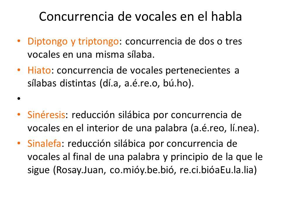 Concurrencia de vocales en el habla Diptongo y triptongo: concurrencia de dos o tres vocales en una misma sílaba. Hiato: concurrencia de vocales perte