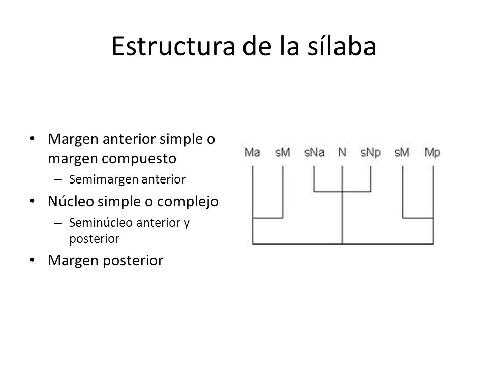 Estructura de la sílaba Margen anterior simple o margen compuesto – Semimargen anterior Núcleo simple o complejo – Seminúcleo anterior y posterior Mar
