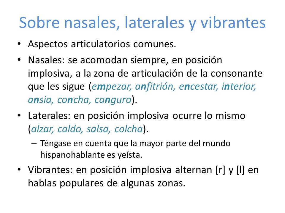 Sobre nasales, laterales y vibrantes Aspectos articulatorios comunes. Nasales: se acomodan siempre, en posición implosiva, a la zona de articulación d