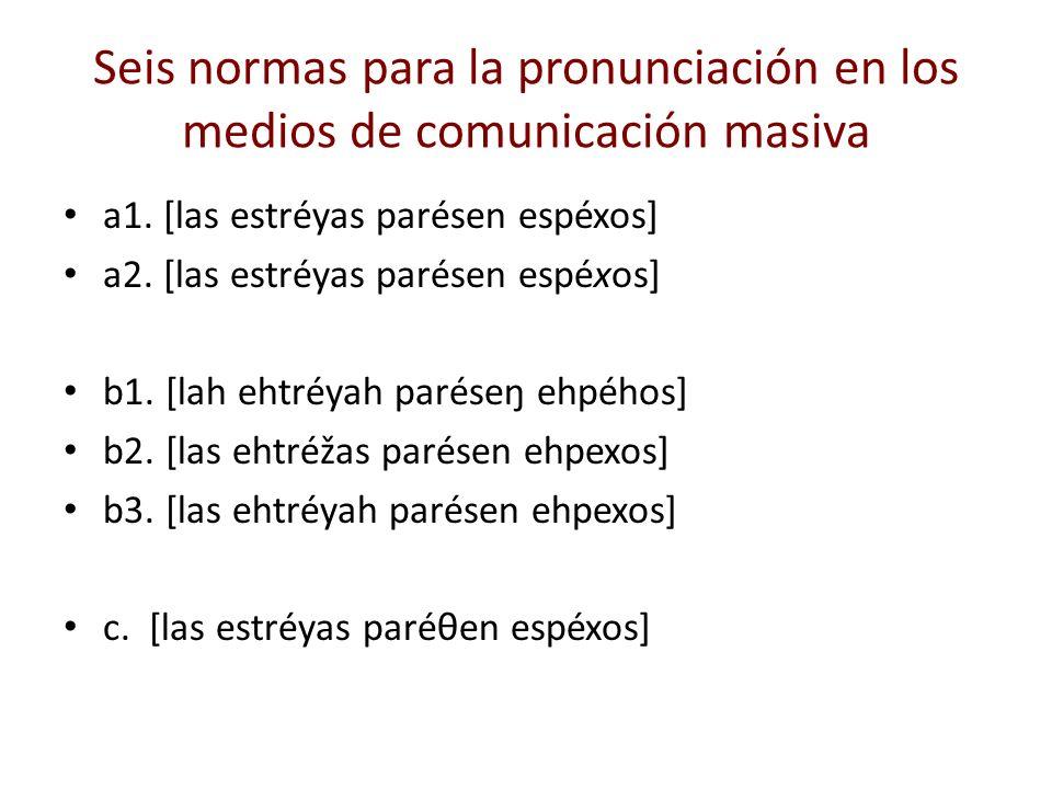 Seis normas para la pronunciación en los medios de comunicación masiva a1. [las estréyas parésen espéxos] a2. [las estréyas parésen espéxos] b1. [lah