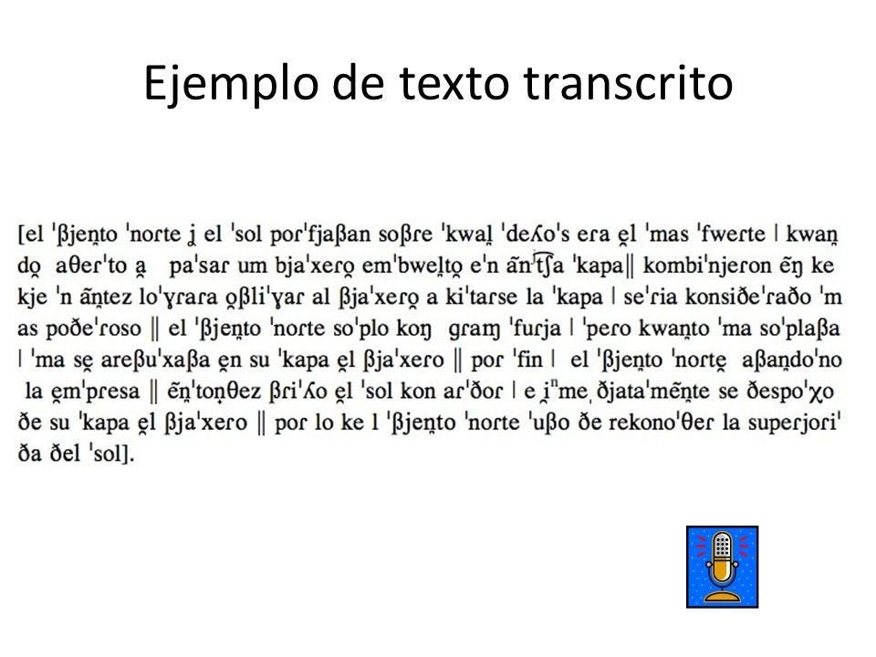 Ejemplo de texto transcrito