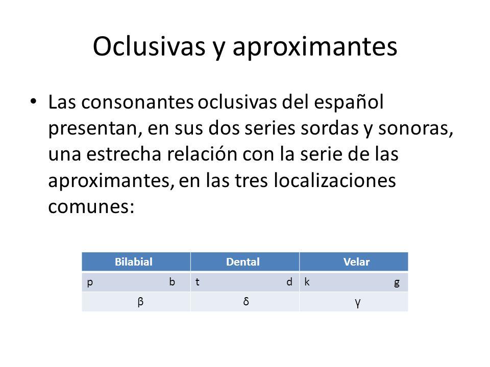 Oclusivas y aproximantes Las consonantes oclusivas del español presentan, en sus dos series sordas y sonoras, una estrecha relación con la serie de la
