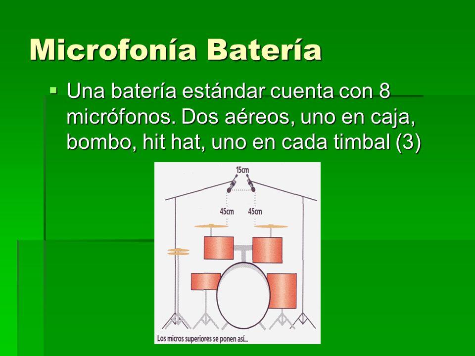 Microfonía Batería Una batería estándar cuenta con 8 micrófonos. Dos aéreos, uno en caja, bombo, hit hat, uno en cada timbal (3) Una batería estándar