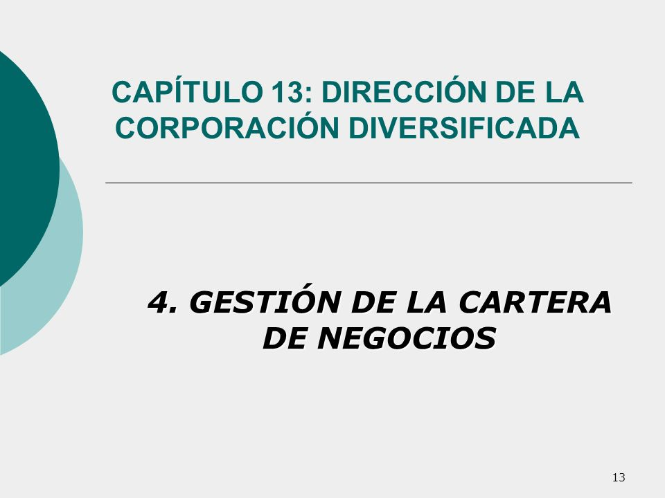 13 CAPÍTULO 13: DIRECCIÓN DE LA CORPORACIÓN DIVERSIFICADA 4. GESTIÓN DE LA CARTERA DE NEGOCIOS