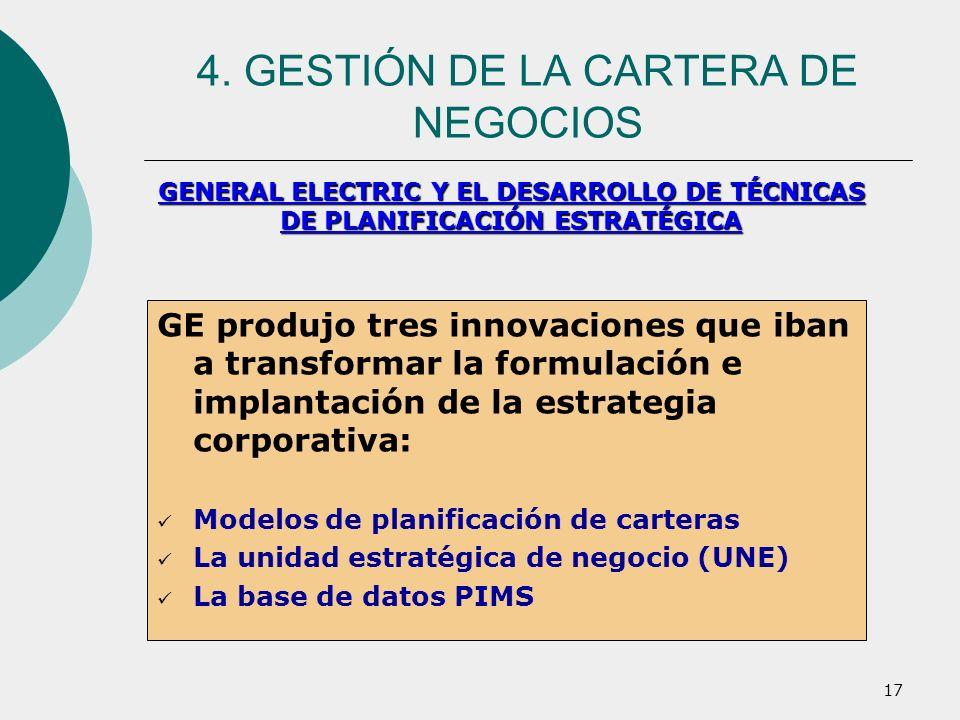 17 GE produjo tres innovaciones que iban a transformar la formulación e implantación de la estrategia corporativa: Modelos de planificación de cartera