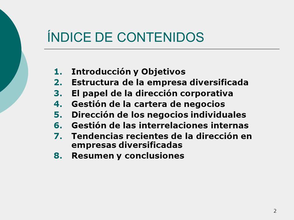 2 ÍNDICE DE CONTENIDOS 1.Introducción y Objetivos 2.Estructura de la empresa diversificada 3.El papel de la dirección corporativa 4.Gestión de la cart