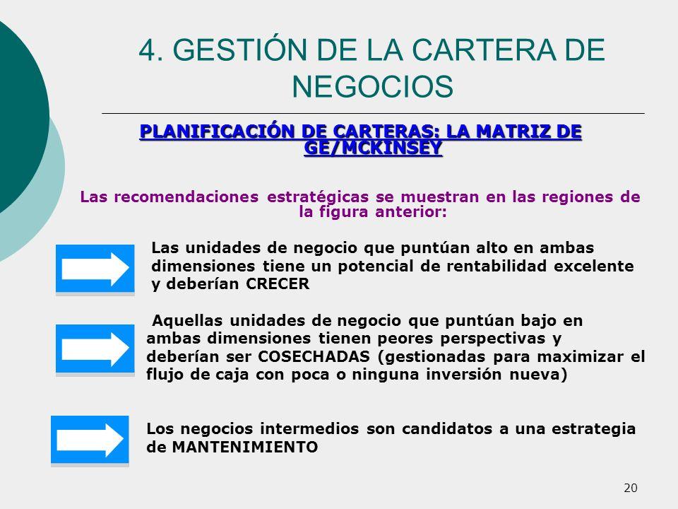 20 PLANIFICACIÓN DE CARTERAS: LA MATRIZ DE GE/MCKINSEY Las recomendaciones estratégicas se muestran en las regiones de la figura anterior: Las unidade