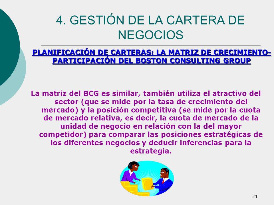 21 La matriz del BCG es similar, también utiliza el atractivo del sector (que se mide por la tasa de crecimiento del mercado) y la posición competitiv