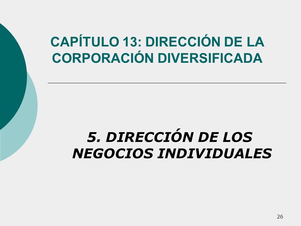 26 CAPÍTULO 13: DIRECCIÓN DE LA CORPORACIÓN DIVERSIFICADA 5. DIRECCIÓN DE LOS NEGOCIOS INDIVIDUALES