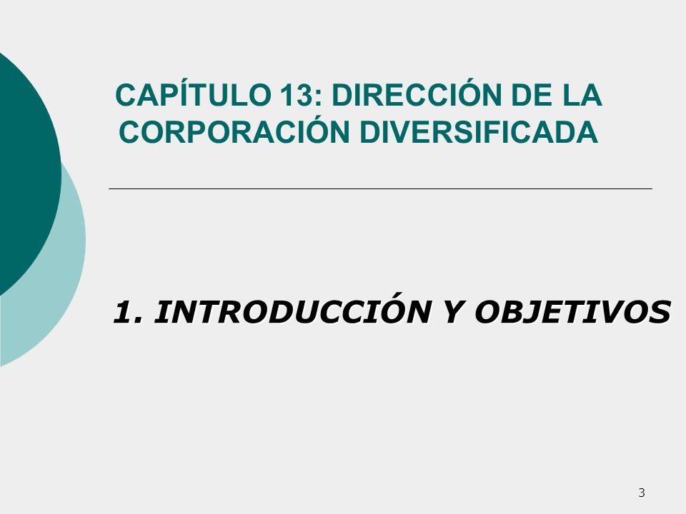 3 CAPÍTULO 13: DIRECCIÓN DE LA CORPORACIÓN DIVERSIFICADA 1. INTRODUCCIÓN Y OBJETIVOS