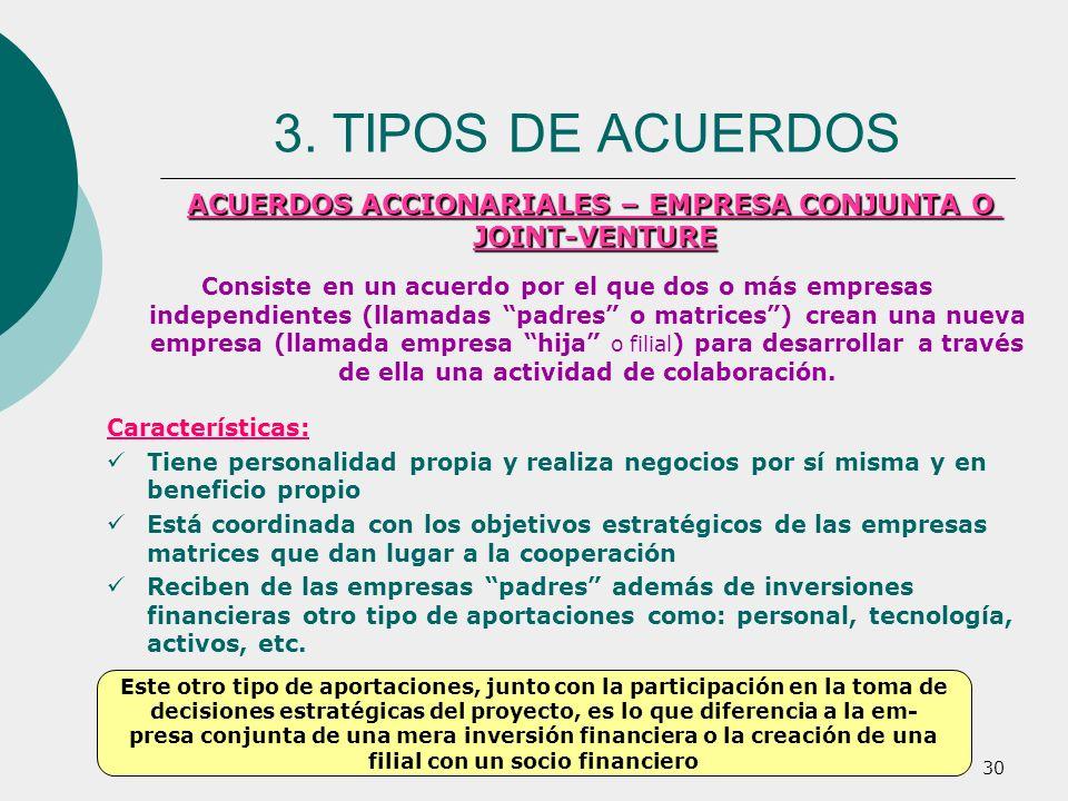 30 Consiste en un acuerdo por el que dos o más empresas independientes (llamadas padres o matrices) crean una nueva empresa (llamada empresa hija o fi