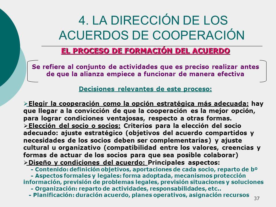 37 EL PROCESO DE FORMACIÓN DEL ACUERDO Se refiere al conjunto de actividades que es preciso realizar antes de que la alianza empiece a funcionar de ma