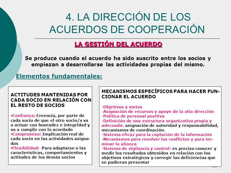 38 LA GESTIÓN DEL ACUERDO Se produce cuando el acuerdo ha sido suscrito entre los socios y empiezan a desarrollarse las actividades propias del mismo.
