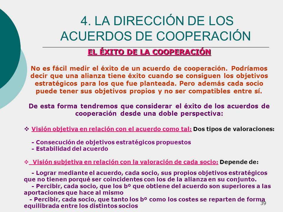 39 EL ÉXITO DE LA COOPERACIÓN No es fácil medir el éxito de un acuerdo de cooperación. Podríamos decir que una alianza tiene éxito cuando se consiguen