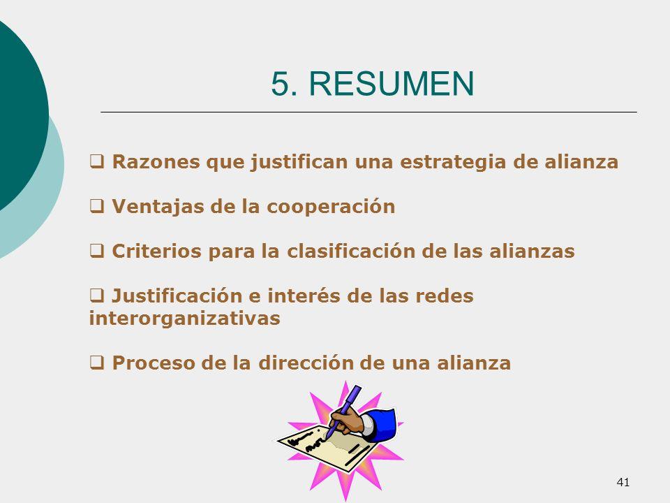 41 Razones que justifican una estrategia de alianza Ventajas de la cooperación Criterios para la clasificación de las alianzas Justificación e interés
