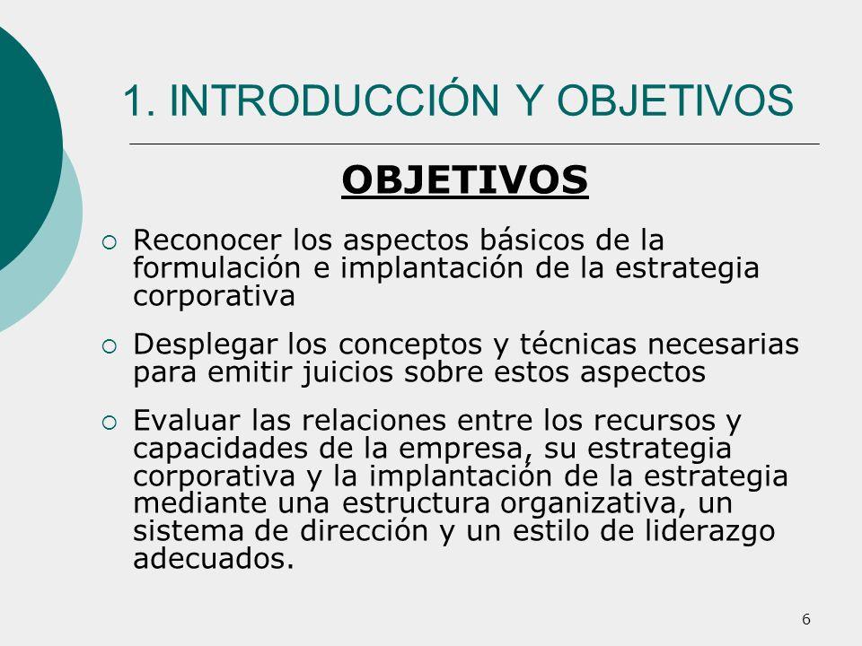 6 1. INTRODUCCIÓN Y OBJETIVOS OBJETIVOS Reconocer los aspectos básicos de la formulación e implantación de la estrategia corporativa Desplegar los con