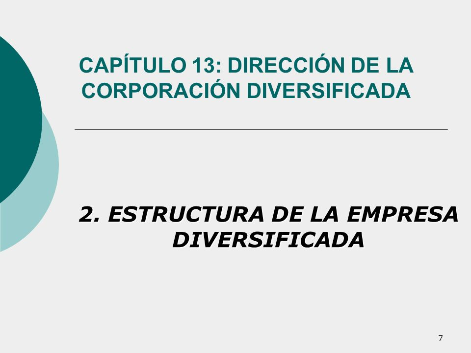 7 CAPÍTULO 13: DIRECCIÓN DE LA CORPORACIÓN DIVERSIFICADA 2. ESTRUCTURA DE LA EMPRESA DIVERSIFICADA