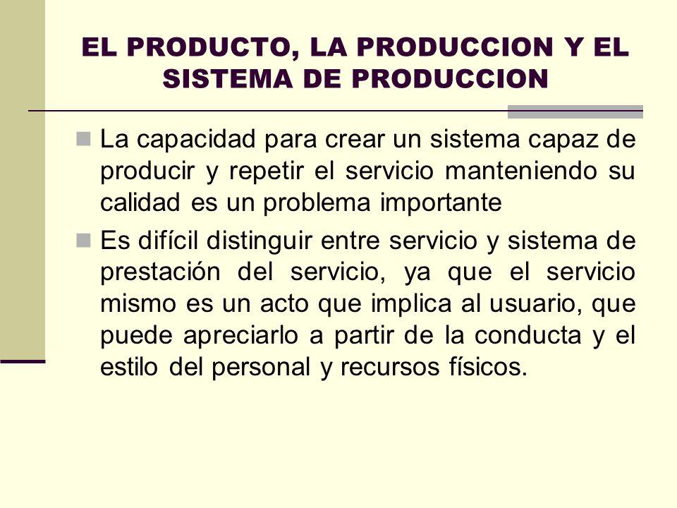 EL PRODUCTO, LA PRODUCCION Y EL SISTEMA DE PRODUCCION La capacidad para crear un sistema capaz de producir y repetir el servicio manteniendo su calida