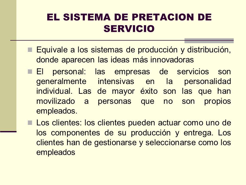 EL SISTEMA DE PRETACION DE SERVICIO Equivale a los sistemas de producción y distribución, donde aparecen las ideas más innovadoras El personal: las em