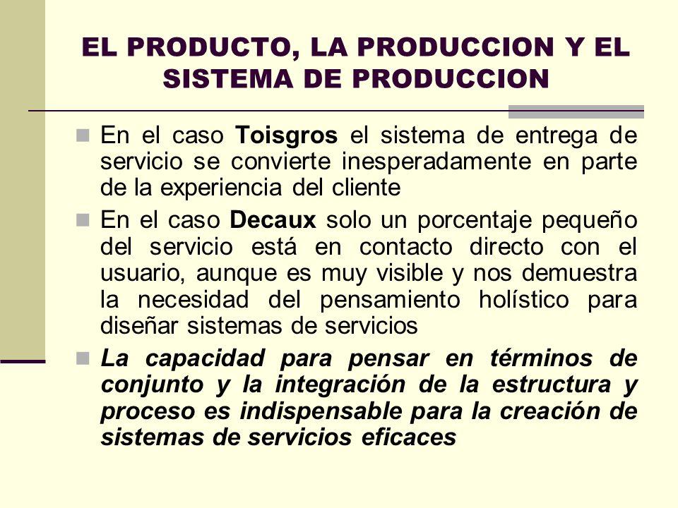 EL PRODUCTO, LA PRODUCCION Y EL SISTEMA DE PRODUCCION En el caso Toisgros el sistema de entrega de servicio se convierte inesperadamente en parte de l