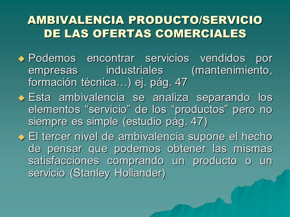 AMBIVALENCIA PRODUCTO/SERVICIO DE LAS OFERTAS COMERCIALES Ben Enis insiste en que un producto es un conjunto de satisfacciones esperadas por su comprador.