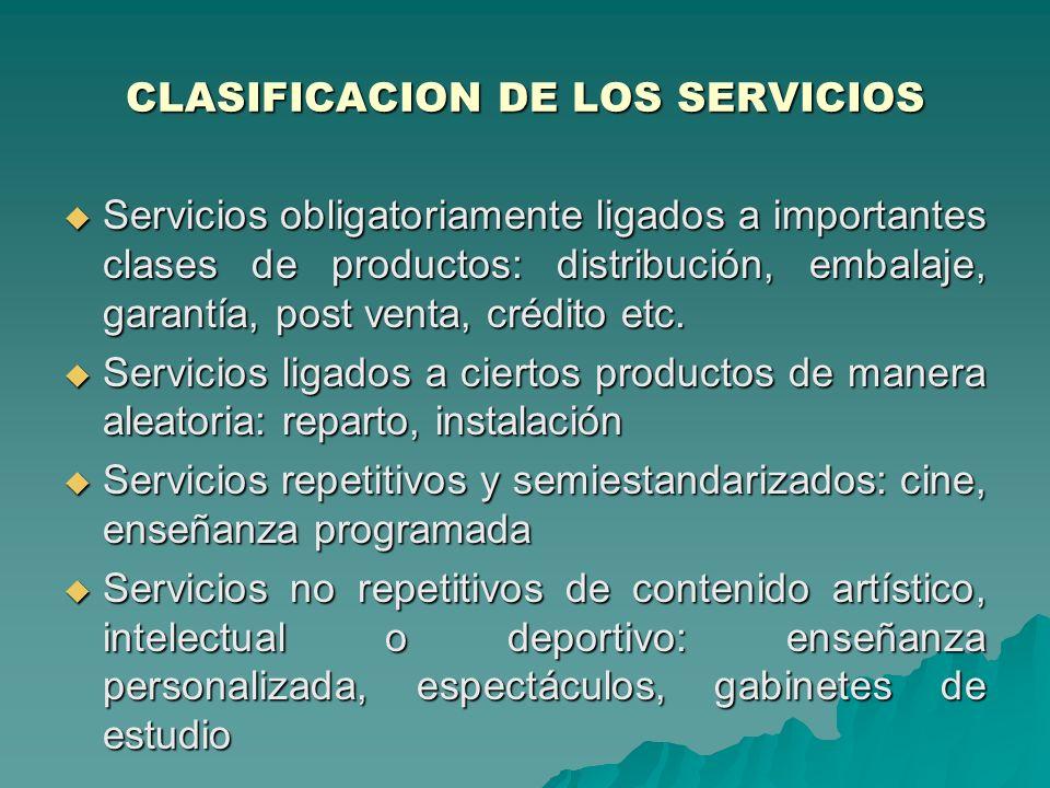 CLASIFICACION DE LOS SERVICIOS Servicios obligatoriamente ligados a importantes clases de productos: distribución, embalaje, garantía, post venta, crédito etc.