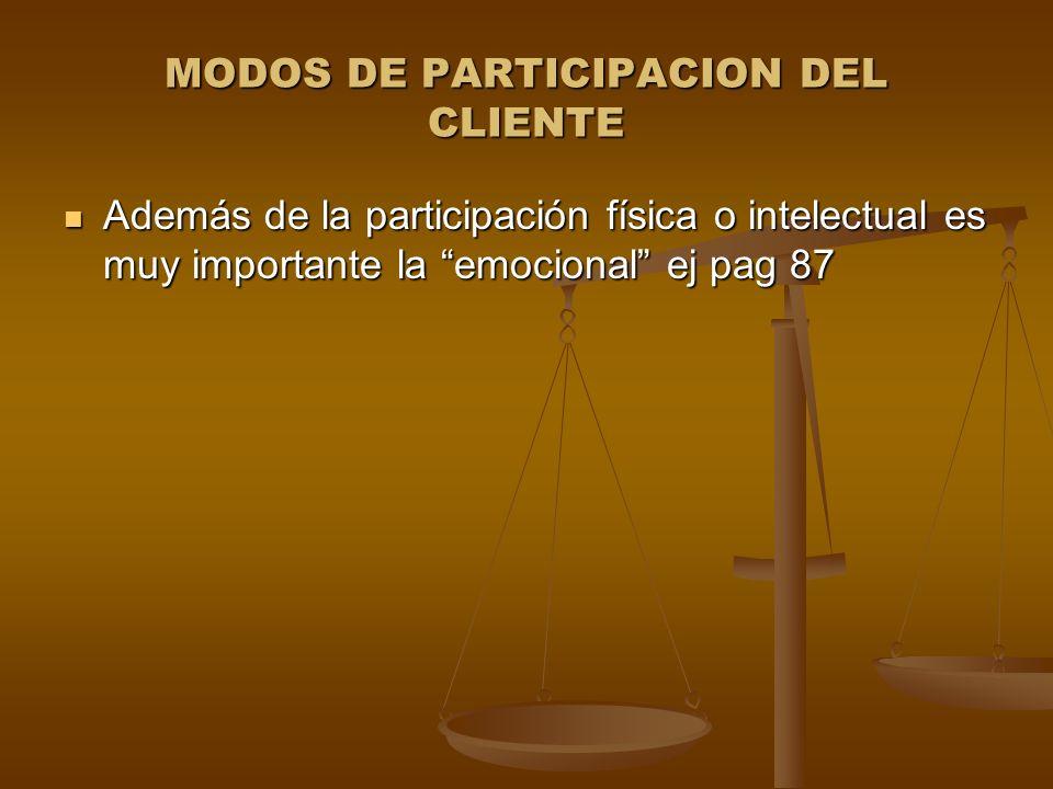 MODOS DE PARTICIPACION DEL CLIENTE Además de la participación física o intelectual es muy importante la emocional ej pag 87 Además de la participación física o intelectual es muy importante la emocional ej pag 87