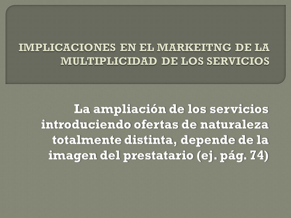La ampliación de los servicios introduciendo ofertas de naturaleza totalmente distinta, depende de la imagen del prestatario (ej.