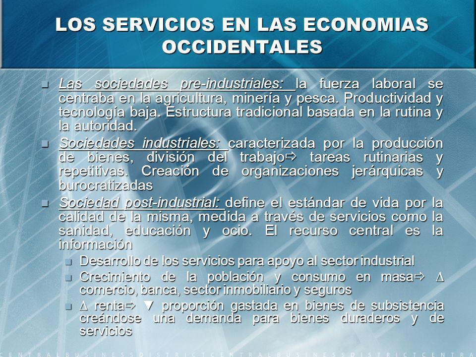 LOS SERVICIOS EN LAS ECONOMIAS OCCIDENTALES Las sociedades pre-industriales: la fuerza laboral se centraba en la agricultura, minería y pesca.