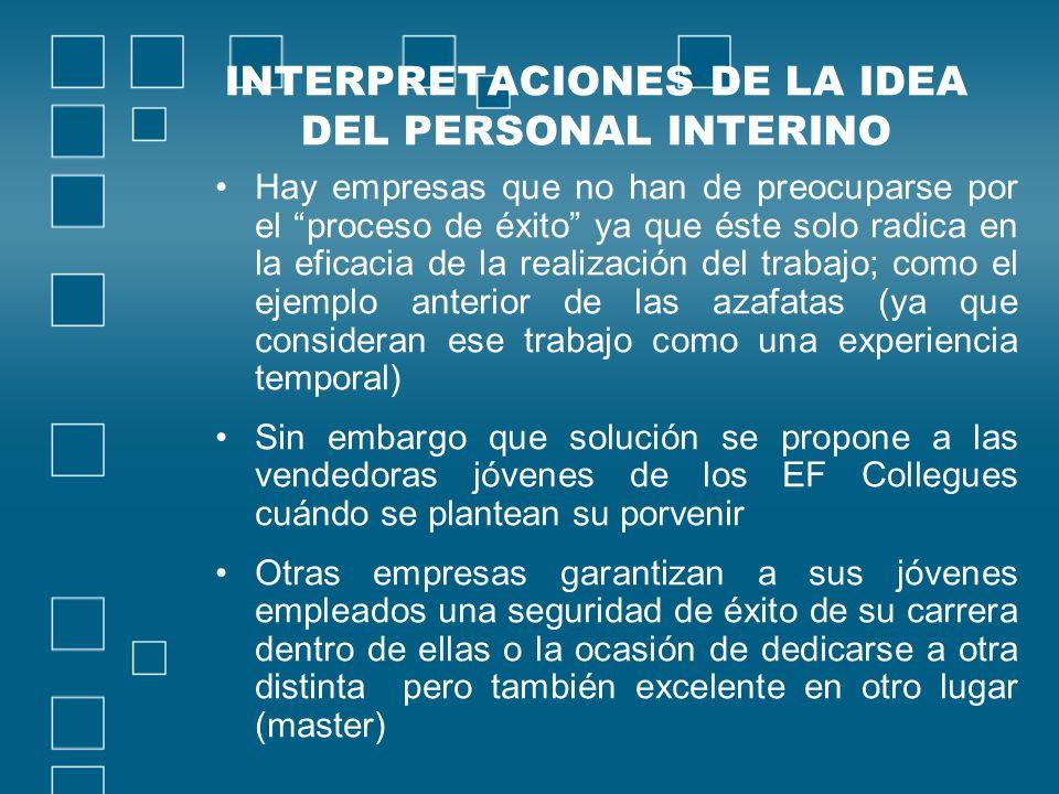INTERPRETACIONES DE LA IDEA DEL PERSONAL INTERINO Hay empresas que no han de preocuparse por el proceso de éxito ya que éste solo radica en la eficaci