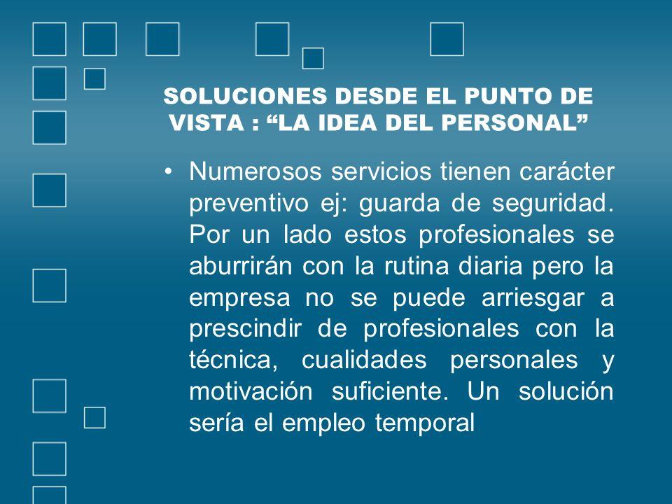 SOLUCIONES DESDE EL PUNTO DE VISTA : LA IDEA DEL PERSONAL Numerosos servicios tienen carácter preventivo ej: guarda de seguridad.