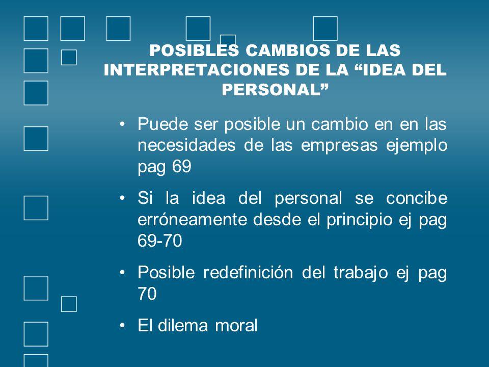 POSIBLES CAMBIOS DE LAS INTERPRETACIONES DE LA IDEA DEL PERSONAL Puede ser posible un cambio en en las necesidades de las empresas ejemplo pag 69 Si l