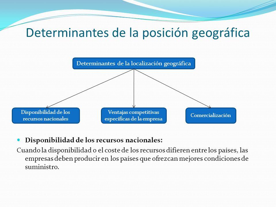 Determinantes de la posición geográfica Disponibilidad de los recursos nacionales: Cuando la disponibilidad o el coste de los recursos difieren entre