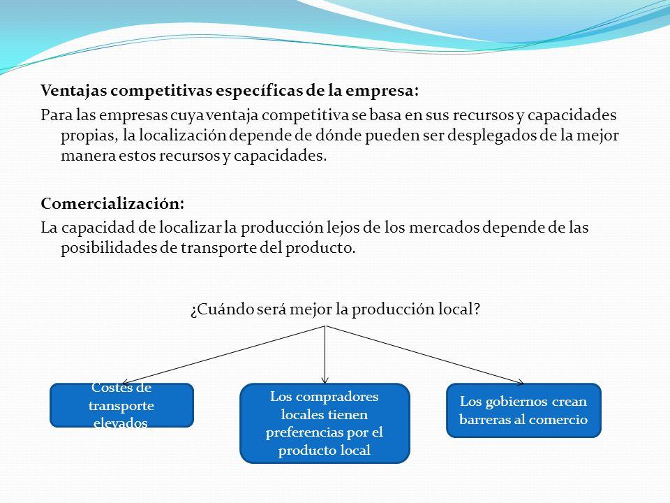 Ventajas competitivas específicas de la empresa: Para las empresas cuya ventaja competitiva se basa en sus recursos y capacidades propias, la localiza