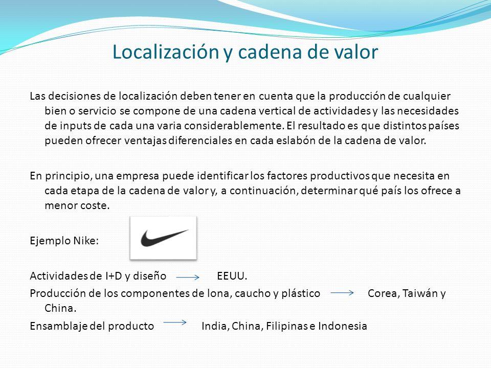 Localización y cadena de valor Las decisiones de localización deben tener en cuenta que la producción de cualquier bien o servicio se compone de una c