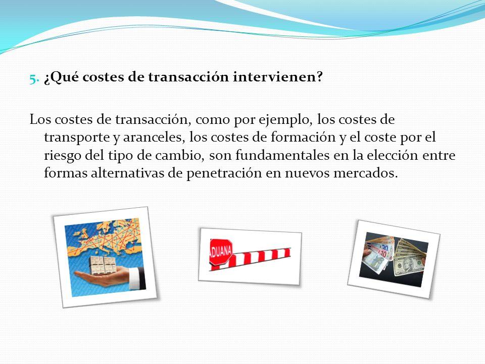 5. ¿Qué costes de transacción intervienen? Los costes de transacción, como por ejemplo, los costes de transporte y aranceles, los costes de formación