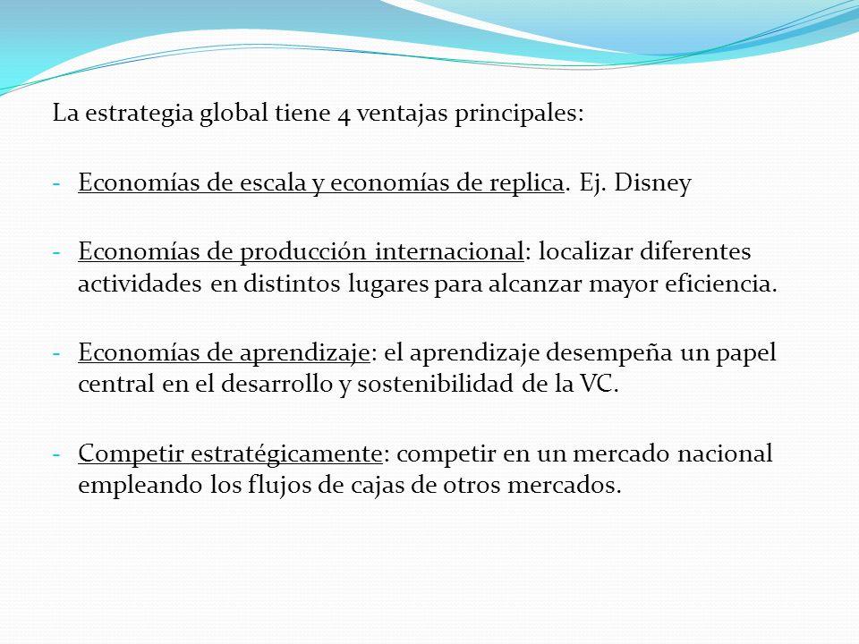 La estrategia global tiene 4 ventajas principales: - Economías de escala y economías de replica. Ej. Disney - Economías de producción internacional: l