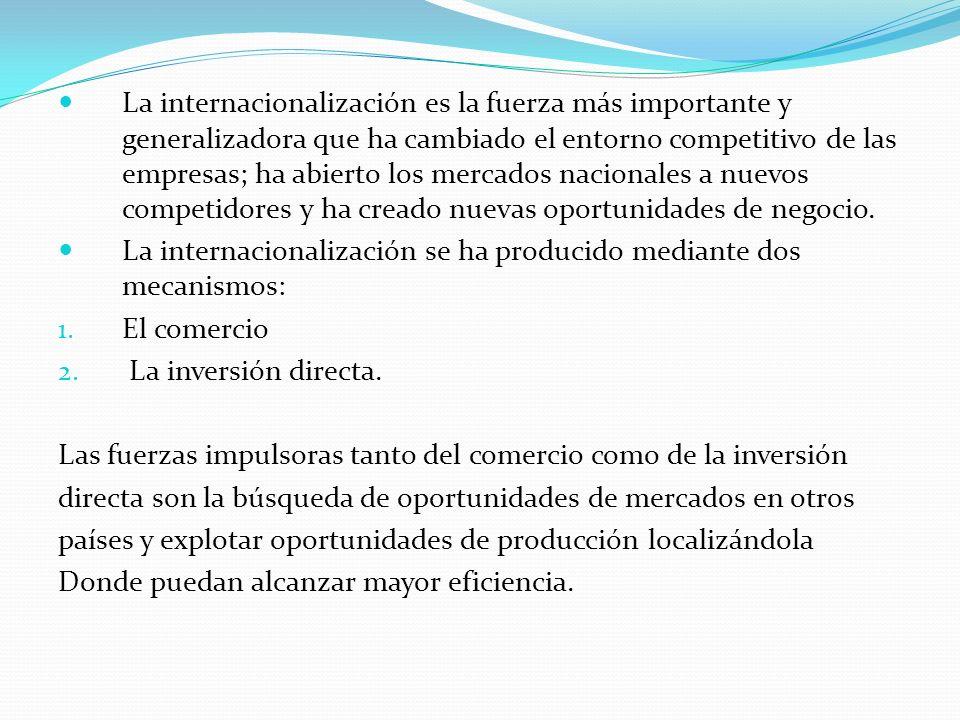 La internacionalización es la fuerza más importante y generalizadora que ha cambiado el entorno competitivo de las empresas; ha abierto los mercados n