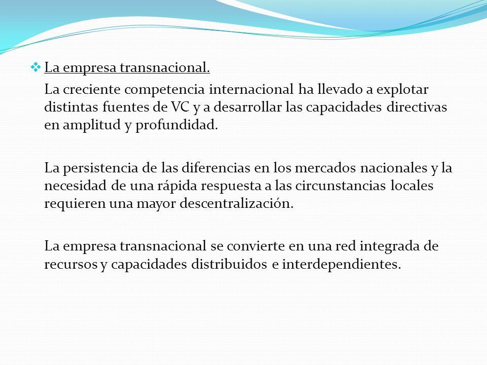La empresa transnacional. La creciente competencia internacional ha llevado a explotar distintas fuentes de VC y a desarrollar las capacidades directi