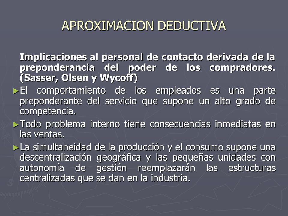 APROXIMACION DEDUCTIVA Implicaciones al personal de contacto derivada de la preponderancia del poder de los compradores. (Sasser, Olsen y Wycoff) El c