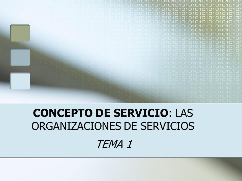 CONCEPTO DE SERVICIO: LAS ORGANIZACIONES DE SERVICIOS TEMA 1