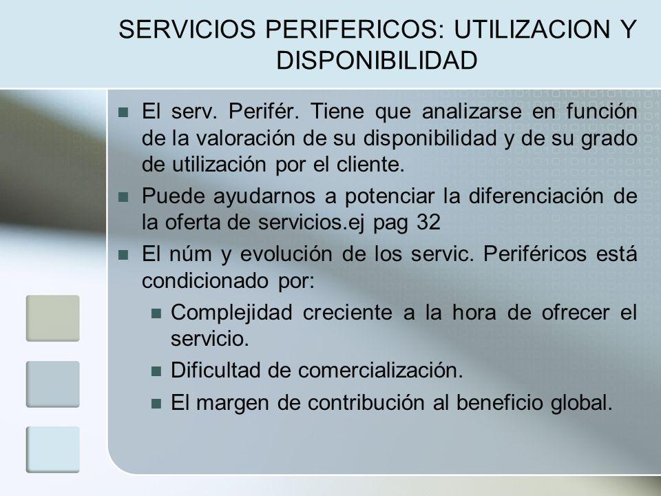 SERVICIOS PERIFERICOS: UTILIZACION Y DISPONIBILIDAD El serv.