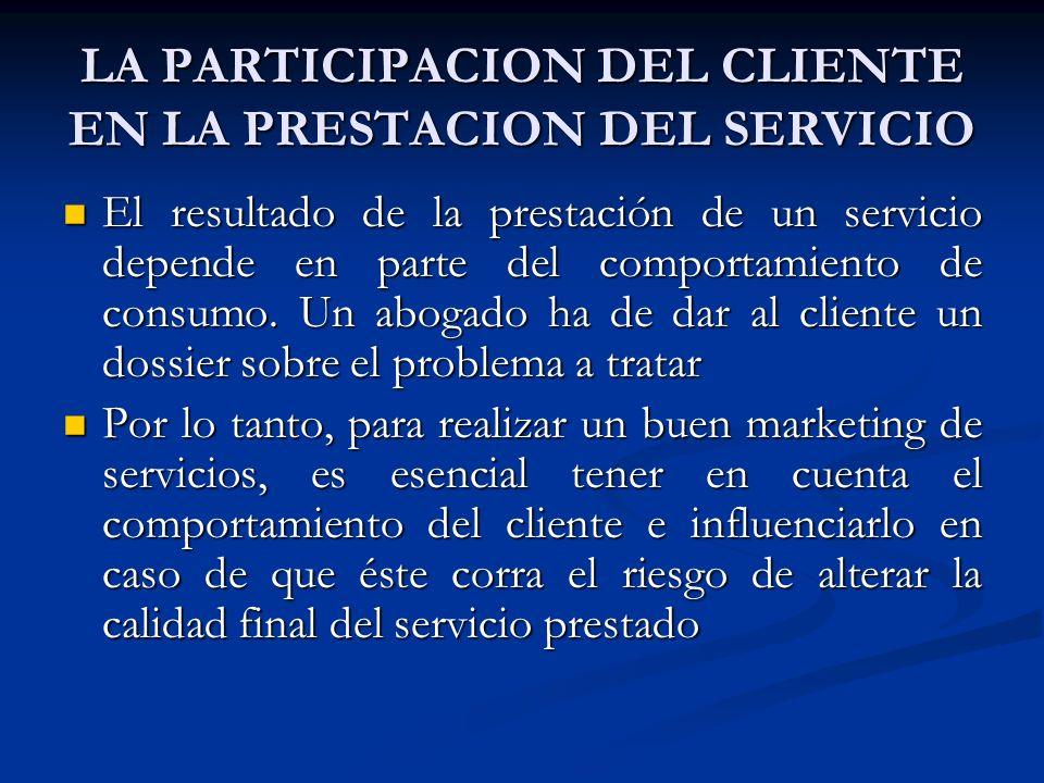 LA PARTICIPACION DEL CLIENTE EN LA PRESTACION DEL SERVICIO El resultado de la prestación de un servicio depende en parte del comportamiento de consumo.