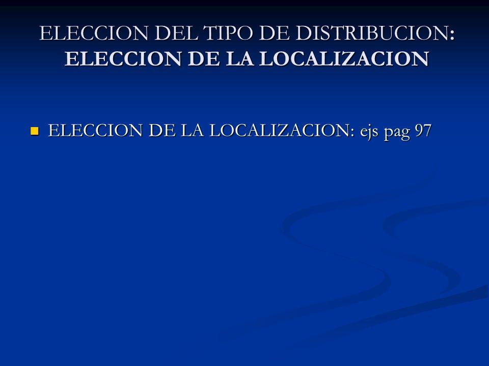 ELECCION DE LA LOCALIZACION: ejs pag 97 ELECCION DE LA LOCALIZACION: ejs pag 97 ELECCION DEL TIPO DE DISTRIBUCION: ELECCION DE LA LOCALIZACION