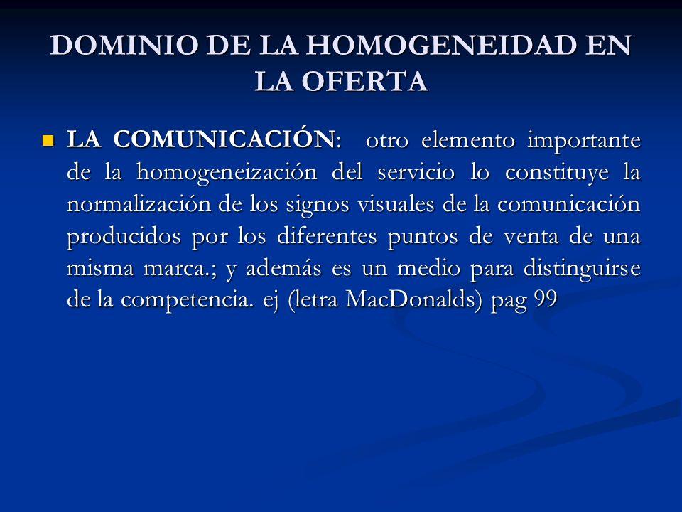 LA COMUNICACIÓN: otro elemento importante de la homogeneización del servicio lo constituye la normalización de los signos visuales de la comunicación producidos por los diferentes puntos de venta de una misma marca.; y además es un medio para distinguirse de la competencia.