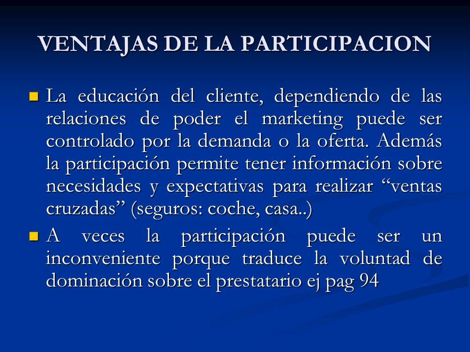 VENTAJAS DE LA PARTICIPACION La educación del cliente, dependiendo de las relaciones de poder el marketing puede ser controlado por la demanda o la oferta.