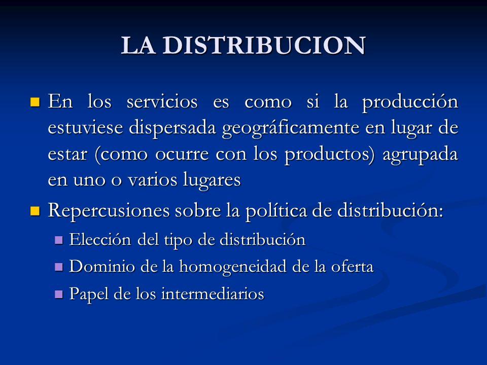 LA DISTRIBUCION En los servicios es como si la producción estuviese dispersada geográficamente en lugar de estar (como ocurre con los productos) agrupada en uno o varios lugares En los servicios es como si la producción estuviese dispersada geográficamente en lugar de estar (como ocurre con los productos) agrupada en uno o varios lugares Repercusiones sobre la política de distribución: Repercusiones sobre la política de distribución: Elección del tipo de distribución Elección del tipo de distribución Dominio de la homogeneidad de la oferta Dominio de la homogeneidad de la oferta Papel de los intermediarios Papel de los intermediarios