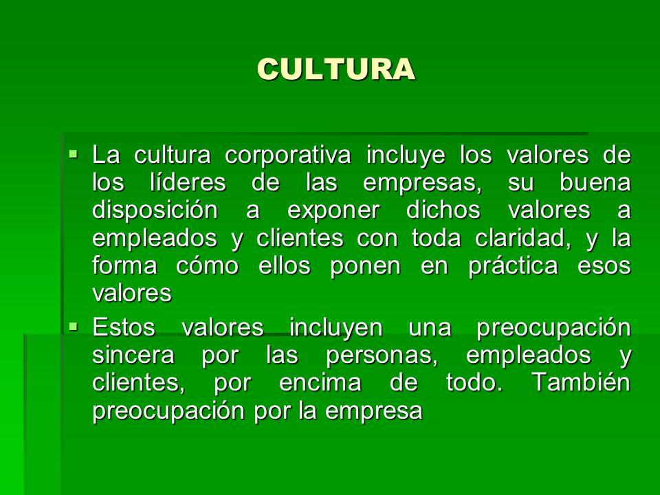 CULTURA La cultura corporativa incluye los valores de los líderes de las empresas, su buena disposición a exponer dichos valores a empleados y cliente
