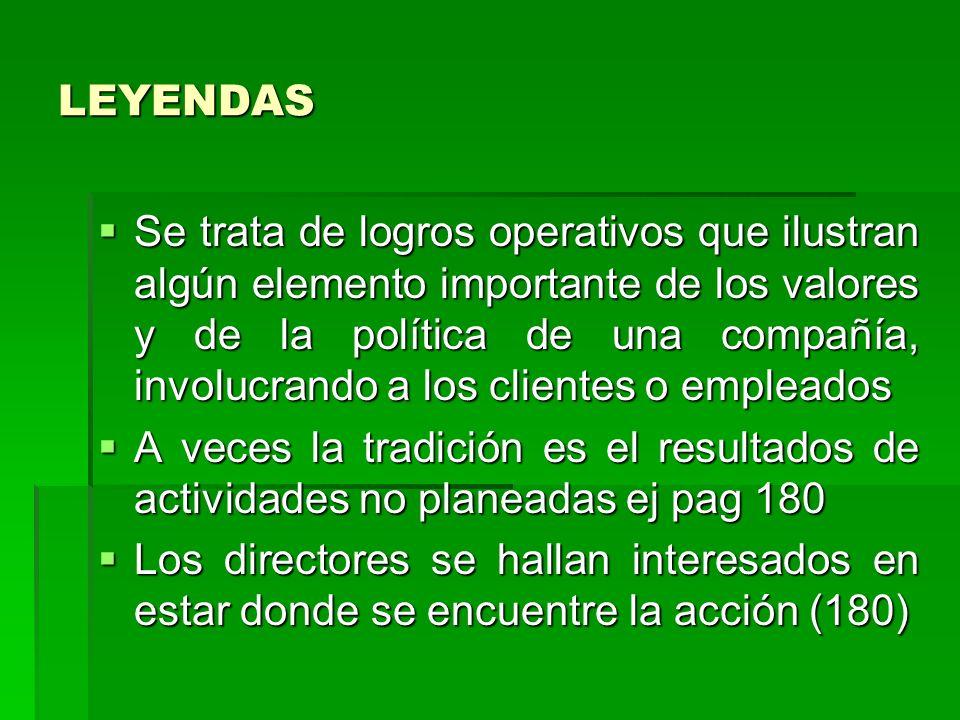 LEYENDAS Se trata de logros operativos que ilustran algún elemento importante de los valores y de la política de una compañía, involucrando a los clie