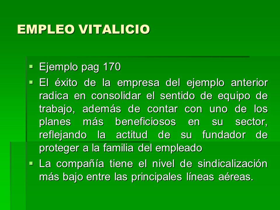 EMPLEO VITALICIO Ejemplo pag 170 El éxito de la empresa del ejemplo anterior radica en consolidar el sentido de equipo de trabajo, además de contar co